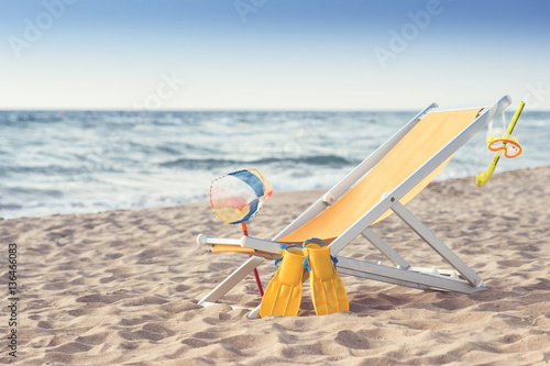 liegestuhl am strand mit wassersportutensilien retro stock photo and royalty free images on. Black Bedroom Furniture Sets. Home Design Ideas