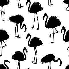 Seamless pattern with flamingos silhouette
