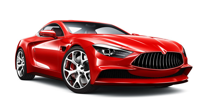 Elegant red sport coupe