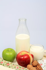 Bottle Of Milk and Apples