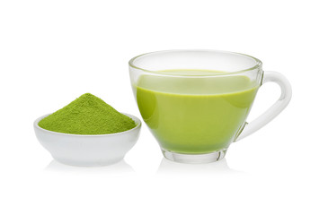 Hot green tea matcha latte with powdered green tea