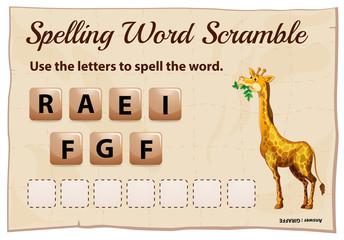 Spelling word scramble for word giraffe
