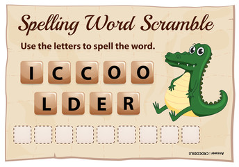 Spelling word scramble game template with crocodile