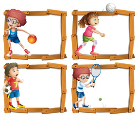 Frame template with kids playing sports