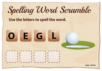 mSpelling word scramble game template with hole