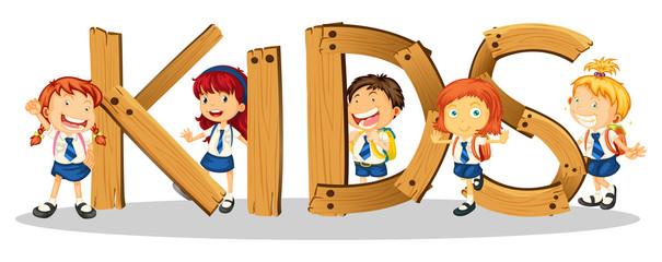 Font design for word kids