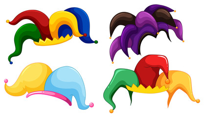 Jester hats in different colors Wall mural