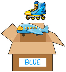 Cardboard box with label blue