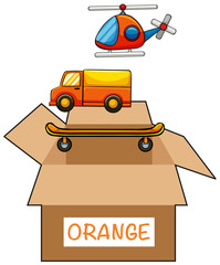 Cardboard box with label orange