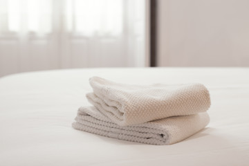 Fresh and clean towels in a bright room