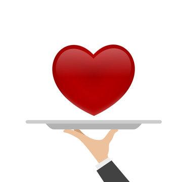 heart on tray