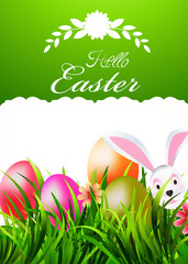 Spring Card Hello Easter, vector illustration