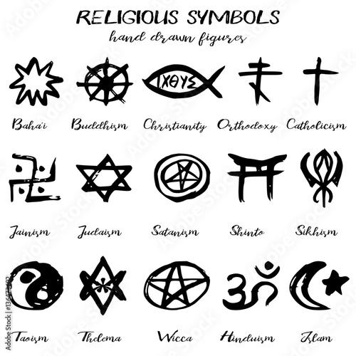 Hand Drawn Religious Symbols Written Grunge Signs With Their Names On White Background Vector Ilration