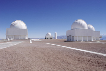 La Silla Observatory against clear blue sky in Chile