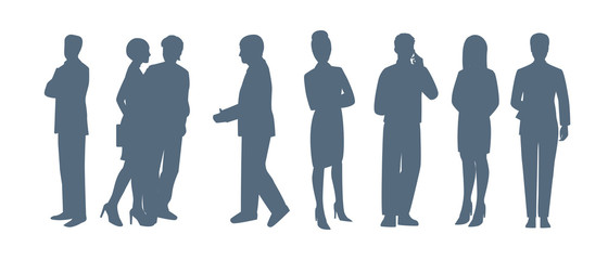 Figures of people. Business characters. Working people, meeting, teamwork. Abstraction. Set of people silhouettes. Full length of silhouette people standing against white background. Vector image.