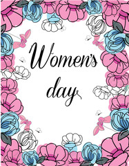 floral background with flowers and butterflies and the words women's day