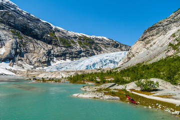 Lake and Nigardsbreen glacier, Jostedalsbreen National Park, Norway.