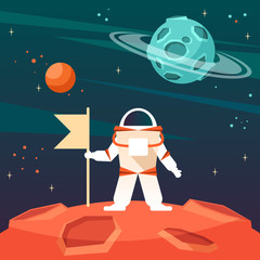 astronaut with a flag on a new planet in the cosmos.