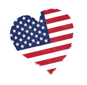 USA flag in heart shape. Grunge United States flag vector.