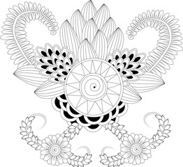 Black and white floral pattern for zentangle coloring.