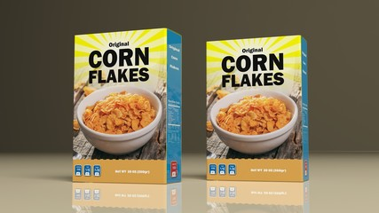 Corn flakes paper packages. 3d illustration
