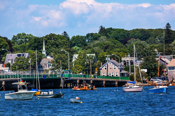Padnaram Bridge and Harbor with Boats Piers Dartmouth Massachuse