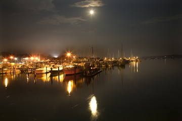 Padnaram Harbor with Boats Yacht Club Piers and Moon
