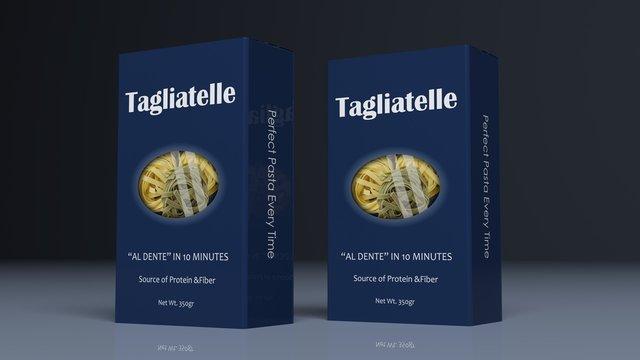 Tagliatelle paper packages. 3d illustration