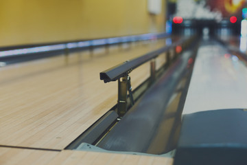 Bowling alley background, lane with bumper rails
