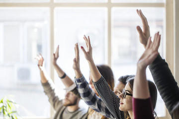 Students raising hands during lesson in classroom