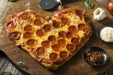 Homemade Heart Shaped Pepperoni Pizza