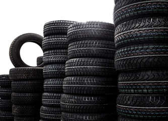 Warehouse of new tires. Isolated white background. Black and whi