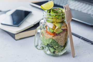 Healthy lunch in glass jar