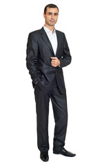 adult man in black suit posing, white space background