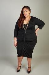 Plus Size African American BBW Woman posing in the studio