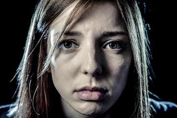 teenager girl or woman in stress and pain suffering depression looking sad