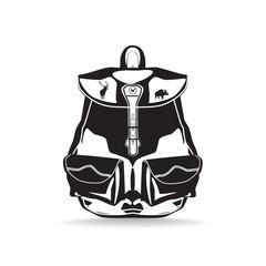 Vector hunter backpack flat black and white illustration