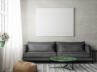 Hipster living room with mock up poster, 3d illustration