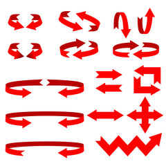 Set of red arrows on a white background
