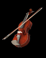 Violin musical instrument isolated on black