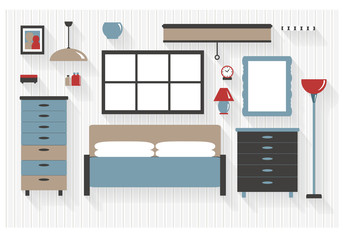 Master Bedroom Furniture with Drawers and Bed Flat Icons - All Long Shadows on one layer - contains blends