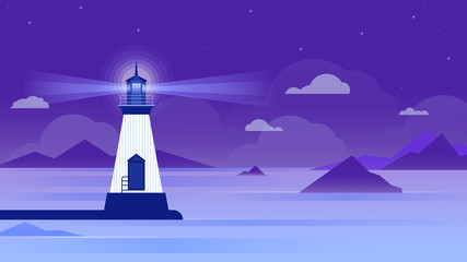 Lighthouse in a calm sea at night