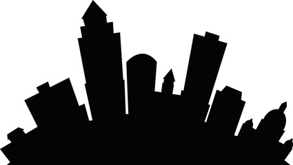 Cartoon skyline silhouette of the city of Des Moines, Iowa, USA.