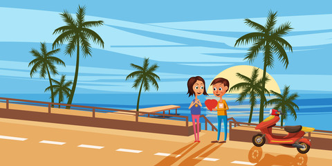 A couple of lovers on the beach, the guy gives the girl heart, mooring, sailing, cartoon style, vector illustration - Love or vacation concept. Vector illustration