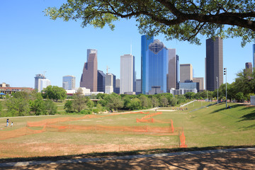 View of downtown Houston city, Texas in a beautiful sunny day