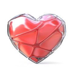Red heart with broken iced shell. 3D