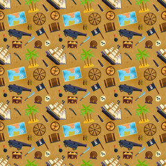 Treasure chest vector seamless pattern illustration.