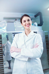 Portrait of Woman Specialist at Work in Production Facility