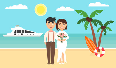 Summer background, sunset beach. The sea, yachts, palm trees and newly married couple. Wedding ceremony by the ocean.Modern flat design. Vector illustration.