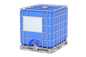 Blue intermediate bulk container closeup, 3D rendering